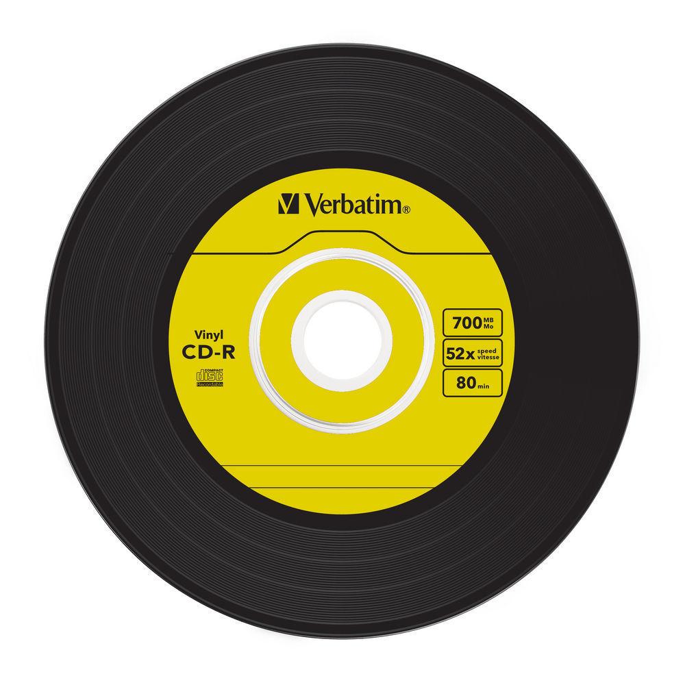 verbatim 52x cd r vinyl 45rpm single label azo range 43426 10 discs in slim jewel cases. Black Bedroom Furniture Sets. Home Design Ideas