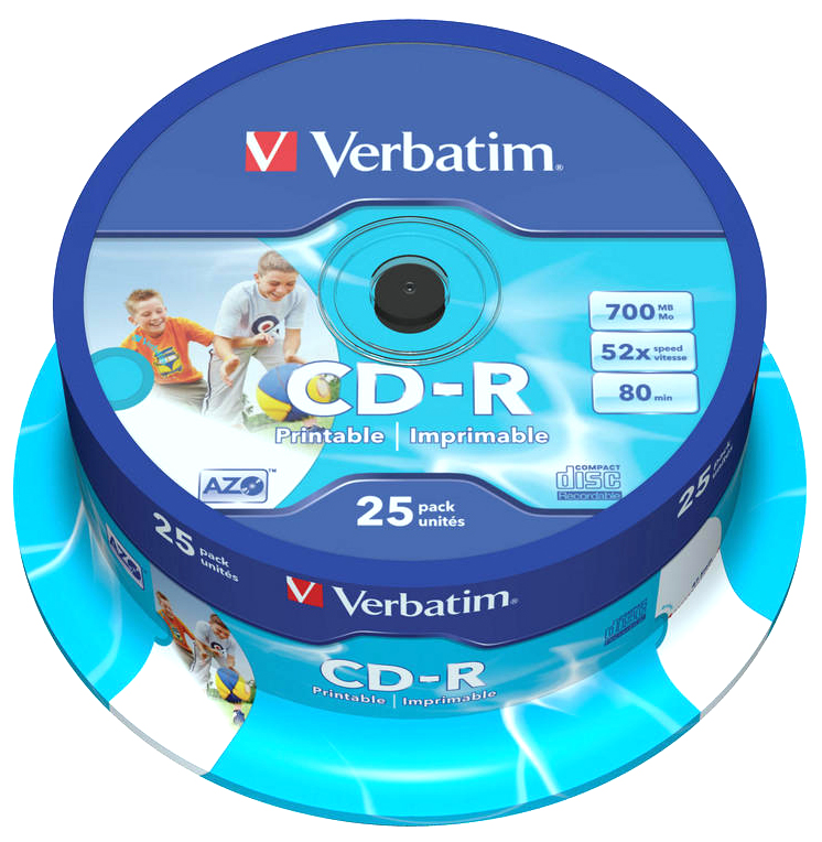 picture relating to Printable Cds named Verbatim 52x CD-R - White Large Printable - Blank Recordable 700MB / 80 Second CDs - with Tremendous Azo - Style: 43439 - 25 Disc Cake Bathtub