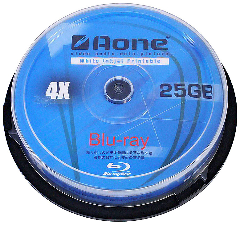 photo relating to Blank Printable Cds called AOne 4x BD-R - Total-Encounter Printable - 25GB Blank Recordable Blu-Ray - 10 Disc Cake Bathtub