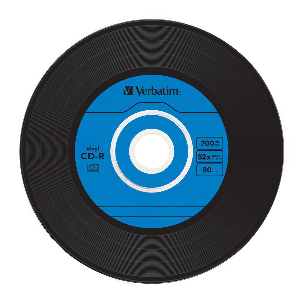 "Verbatim 52x CD-R - """"Vinyl 45RPM Single"""" Label - AZO ..."