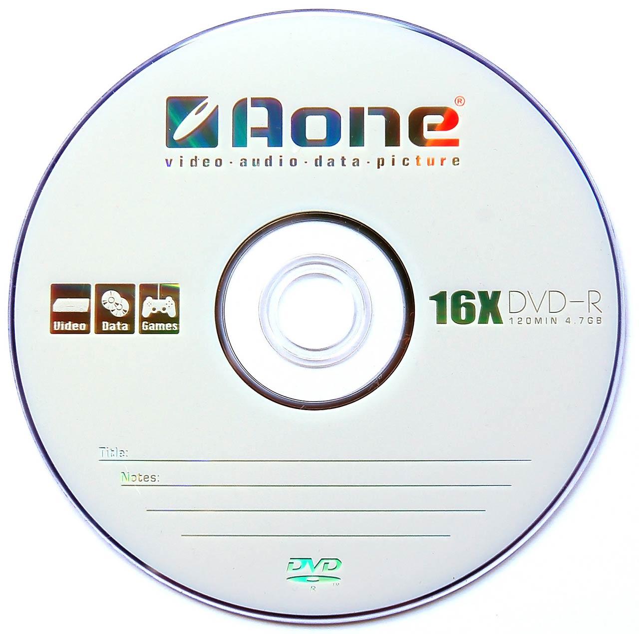 AOne 16x DVD-R - Single Layer 4.7GB - Branded - 50 Disc Tub