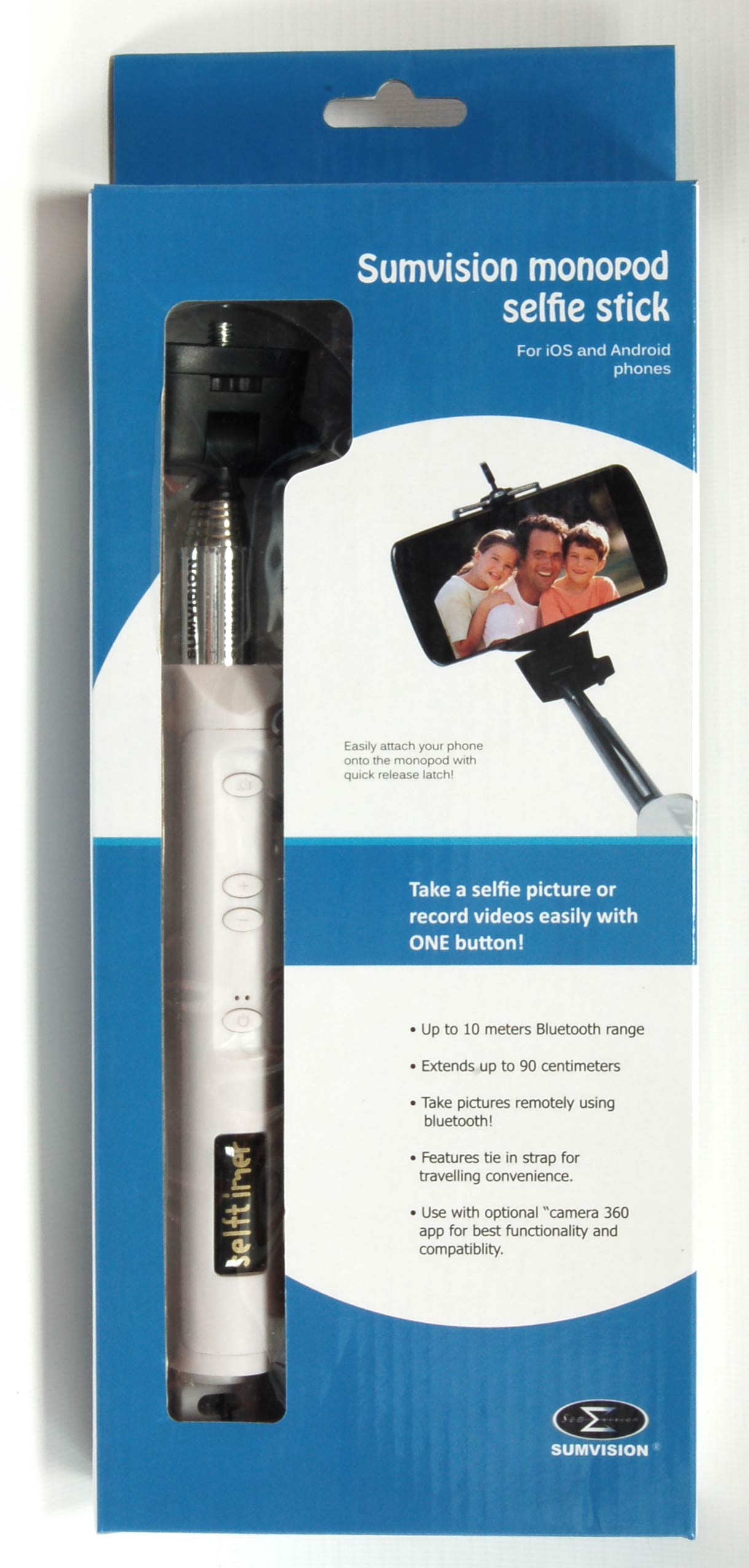 sumvision monopod selfie stick for apple iphone and android phones white. Black Bedroom Furniture Sets. Home Design Ideas