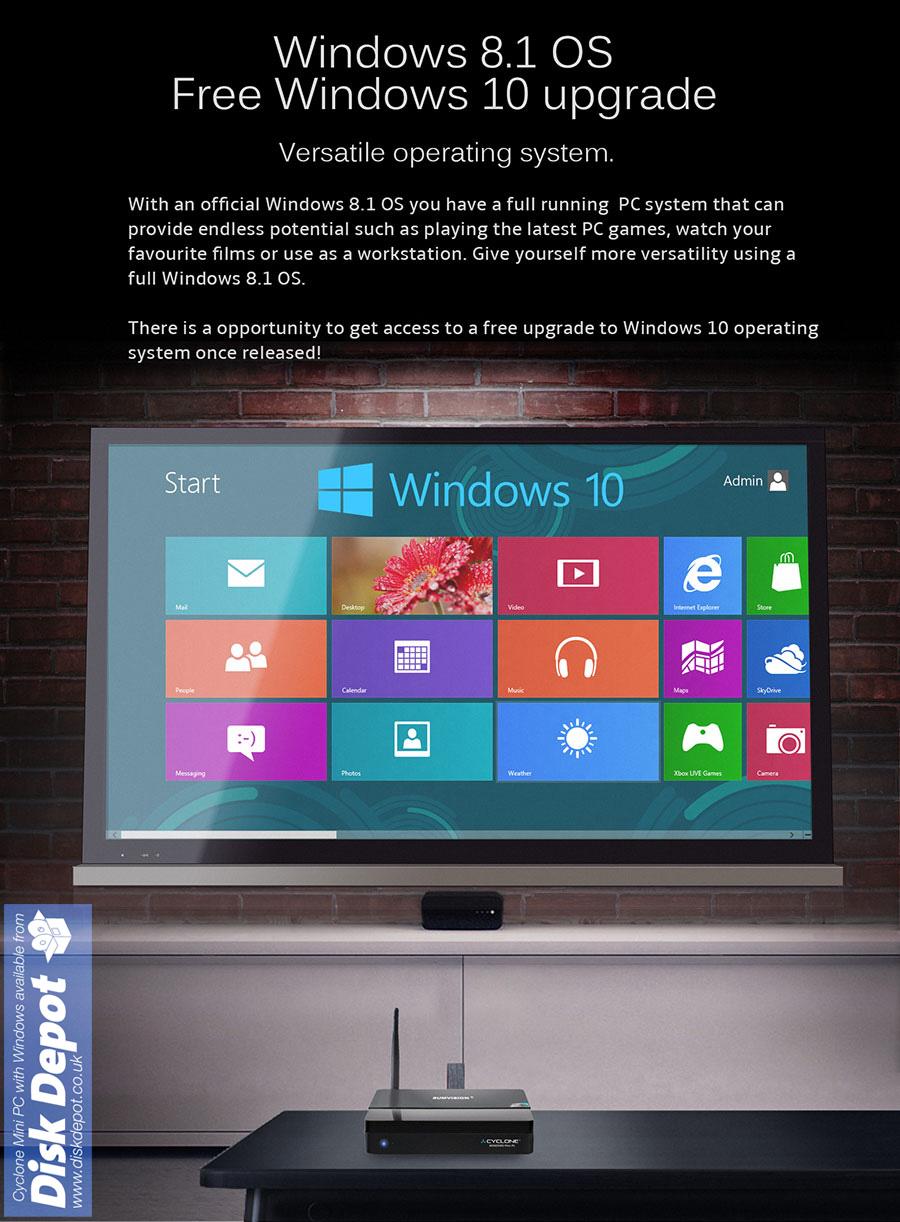 sumvision cyclone windows mini pc intel atom quad core 1. Black Bedroom Furniture Sets. Home Design Ideas