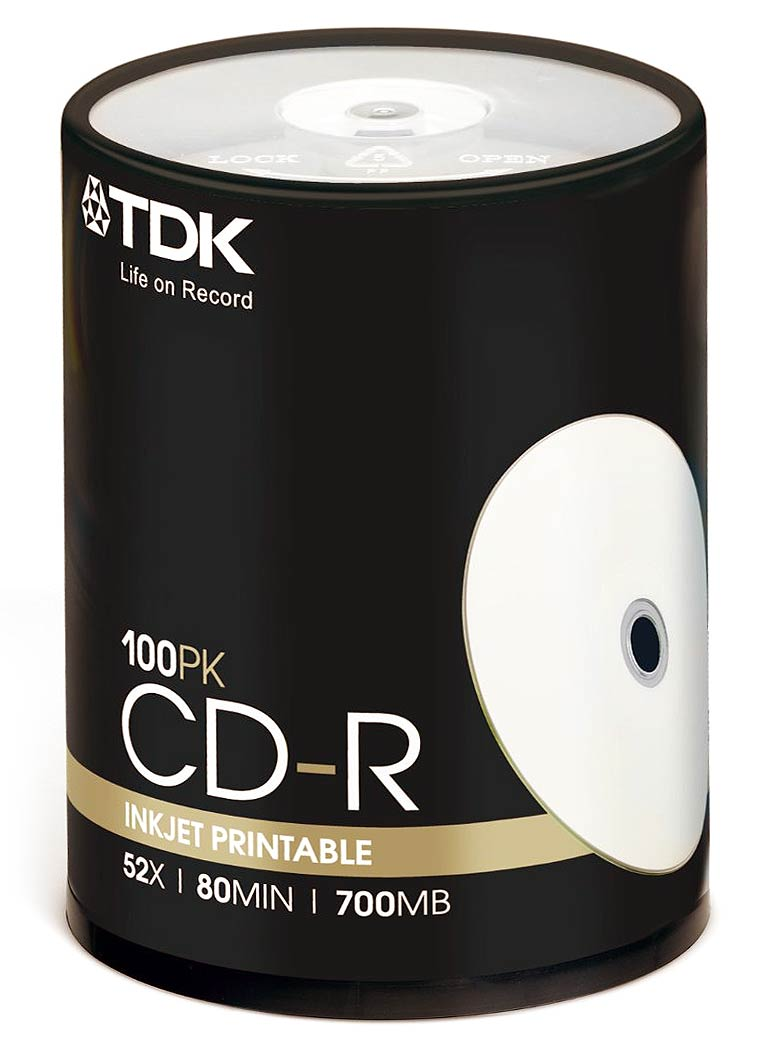 image about Inkjet Printable Cds known as TDK 52x CD-R - Inkjet Printable - 80 Minutes / 700 MB - 100 Pack