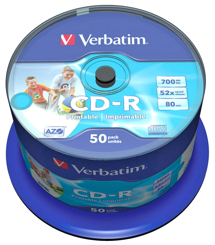 photograph relating to Blank Printable Cds named Verbatim Azo Printable 52x CDR 50 Blank Discs - 80 Moment / 700MB CD-R (43438)