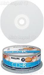 picture about Printable Cds known as ~ Philips 52x Total-Confront Printable CD-R - Recordable CDs with 700MB Means - 25 Disc Cake Bathtub